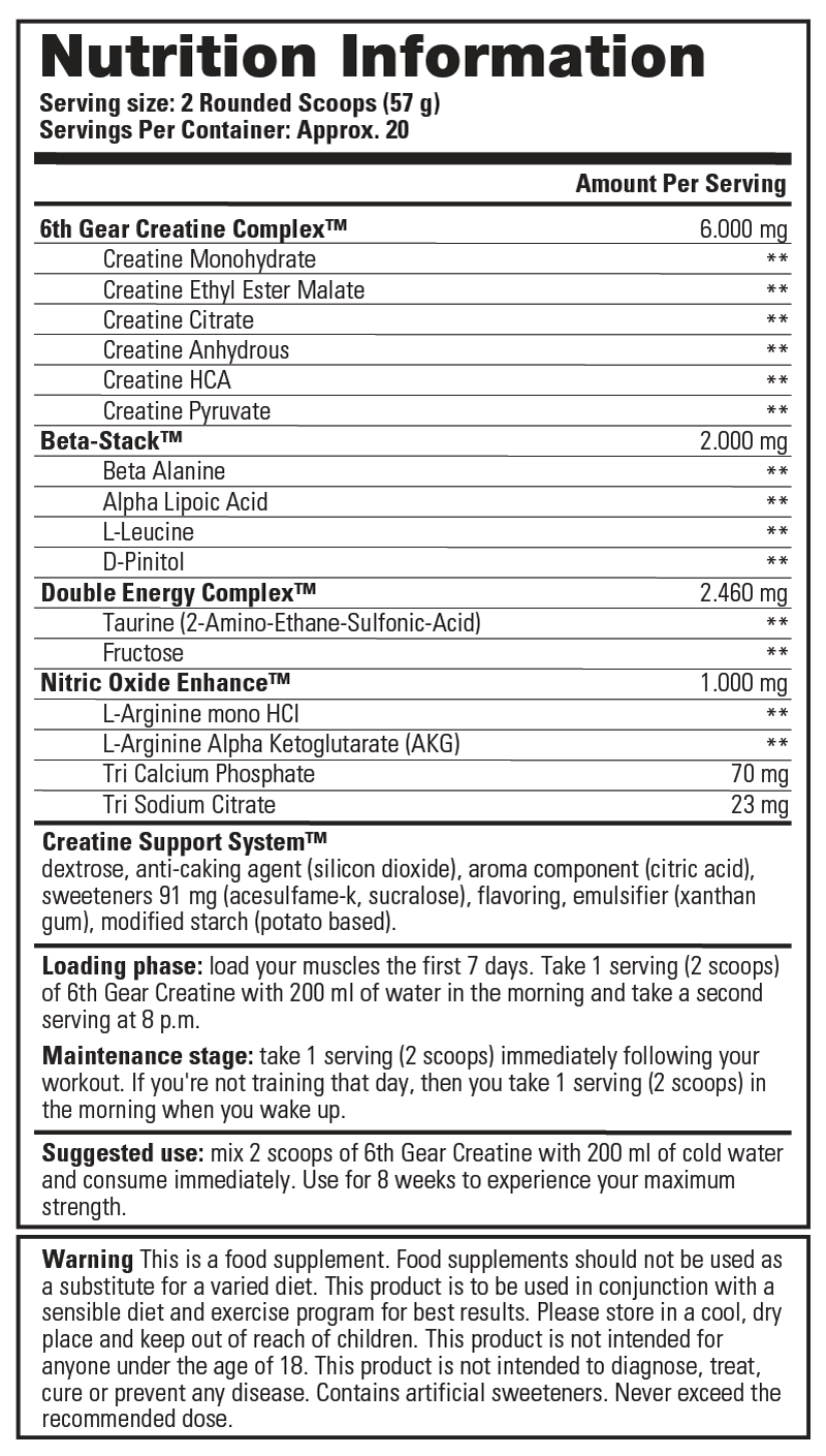 6th Gear Creatine Complex - Nutrition Information