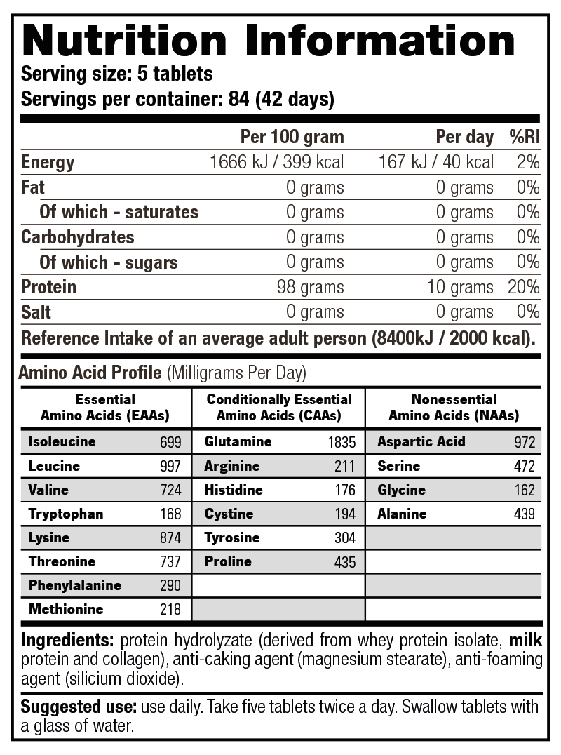 Amino Xplode 10,000 - Nutrition Information