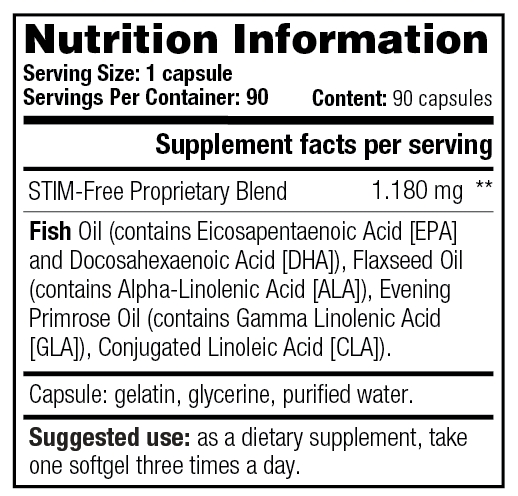 Black Burn STIM-Free - Nutrition Information