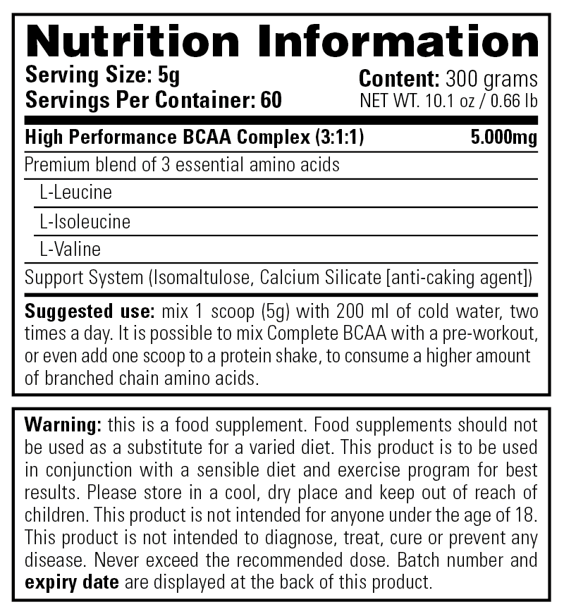 Complete BCAA - Nutrition Information