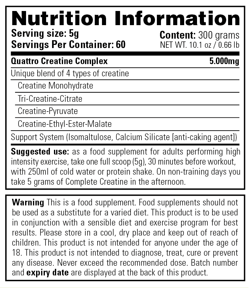 Complete Creatine - Nutrition Information