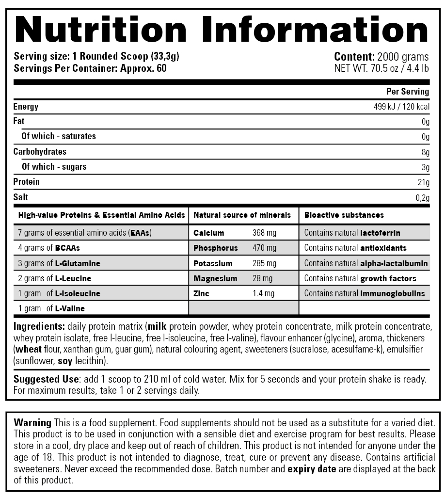 Daily Protein - Nutrition Information