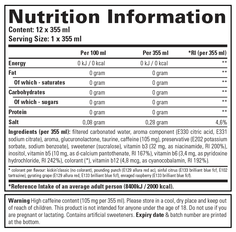 Extreme Energy - Nutrition Information