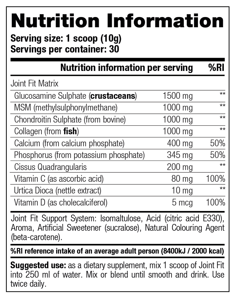 Joint Fit - Nutrition Information