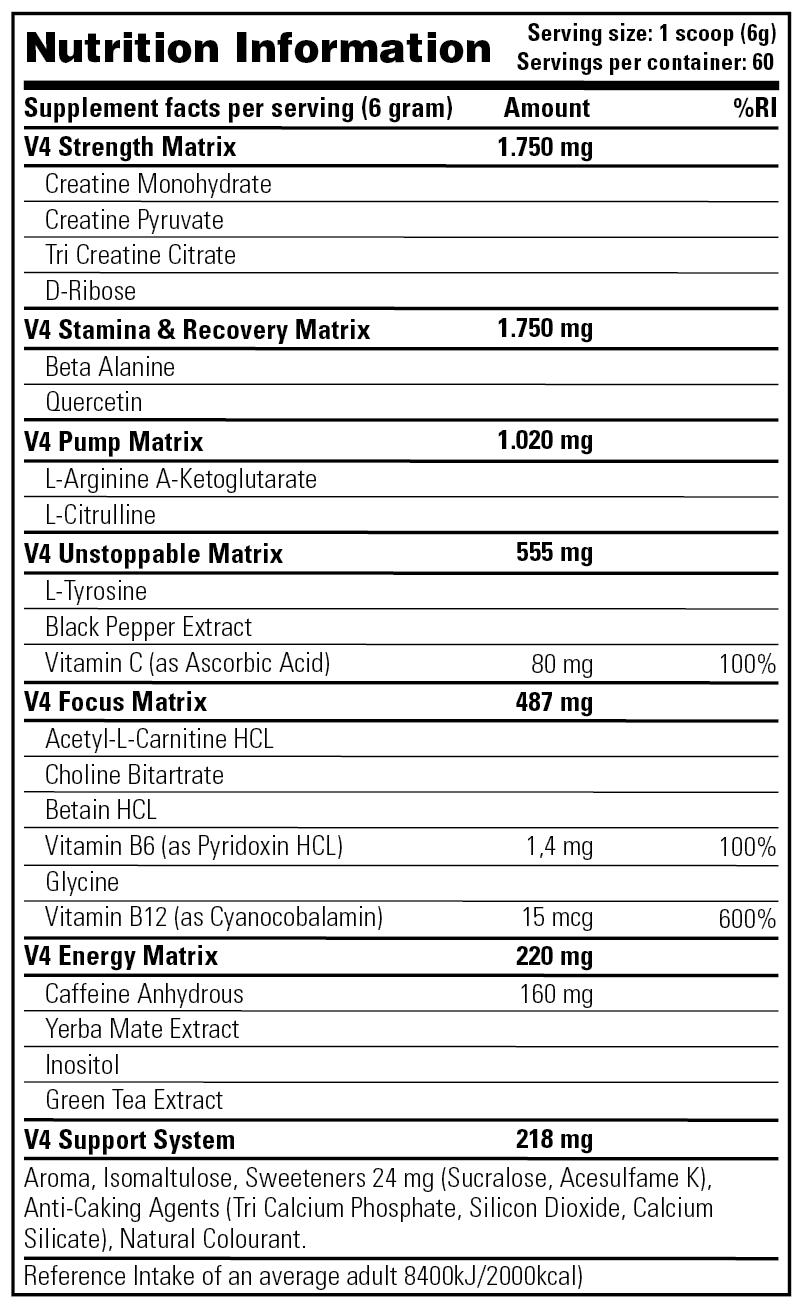 Rush V4 - Nutrition Information