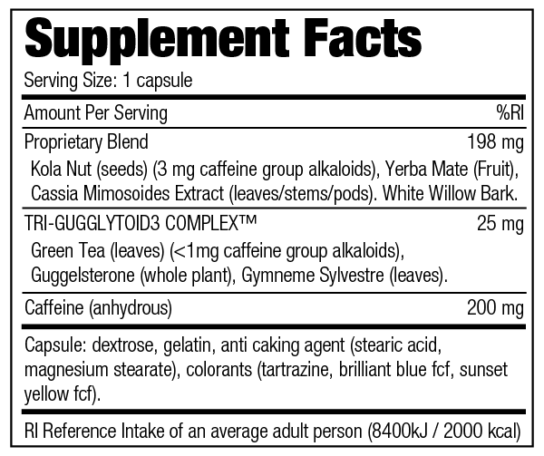 Stacker 2 E.F. - Supplement Facts