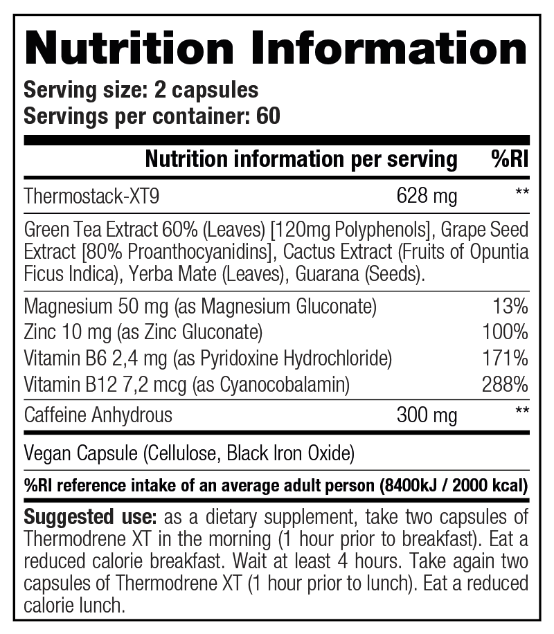 Thermodrene XT - Nutrition Information