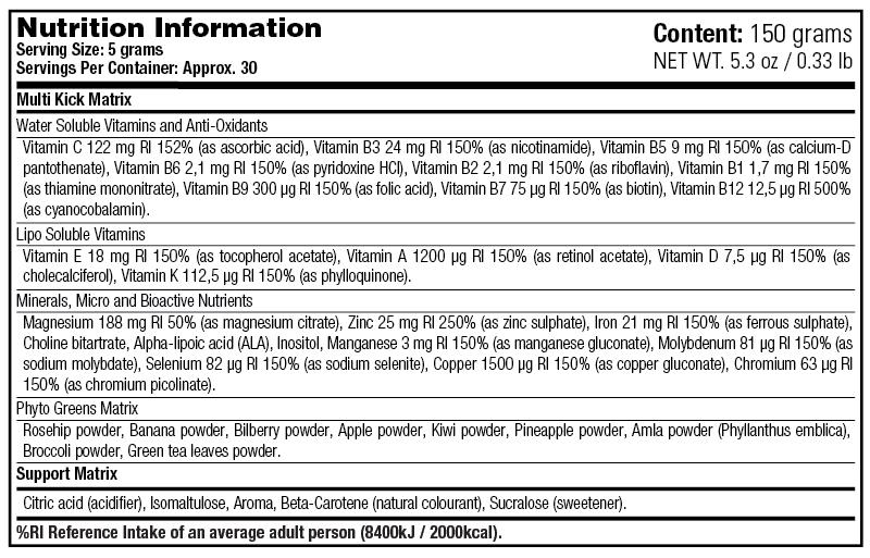 Multi Kick - Nutrition Information