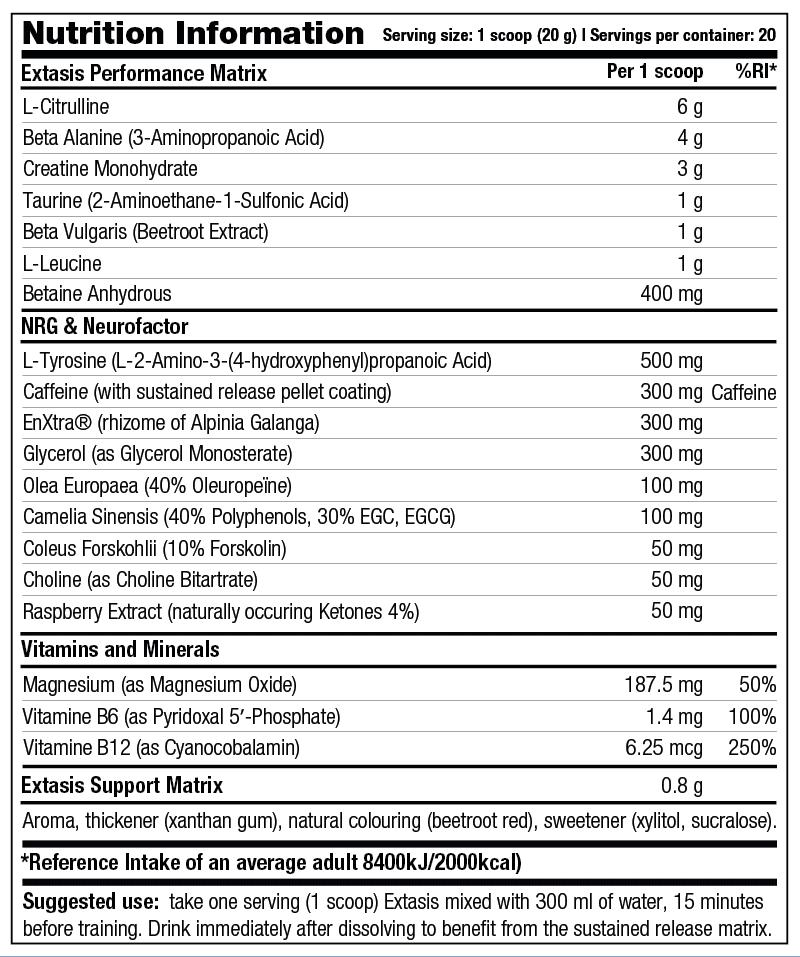Extasis - Nutrition Information