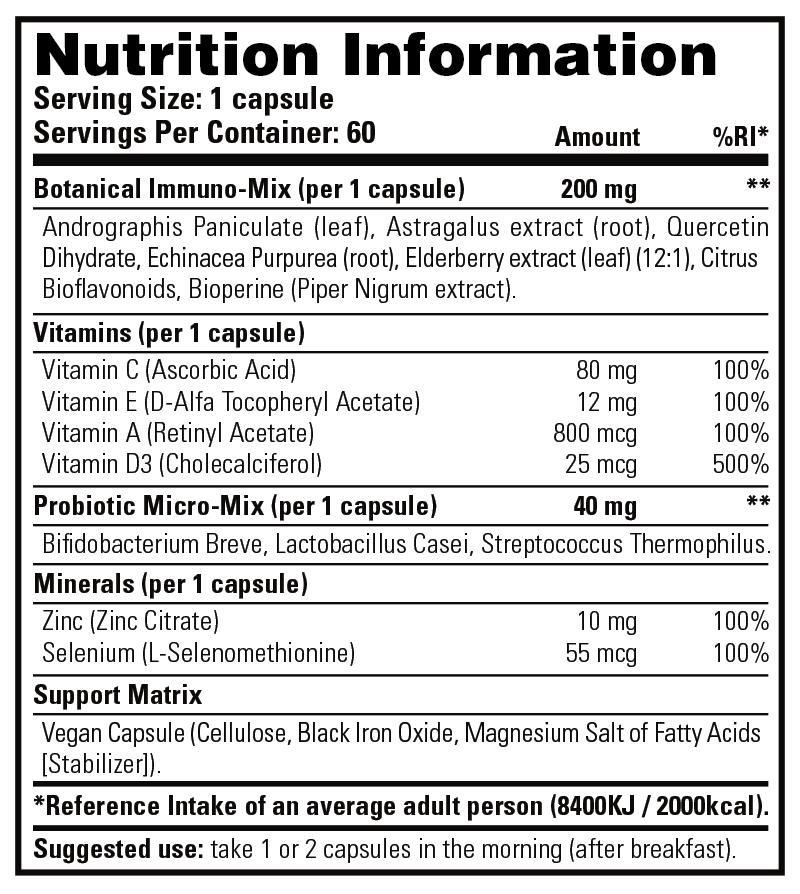 Immuno Stack - Nutrition Information